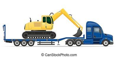 conceito, transporte, semi, ilustração, entrega, vetorial, caminhão, maquinaria, construção, reboque