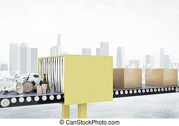 conceito, transporte, serviço pacote, sistema, embalagem