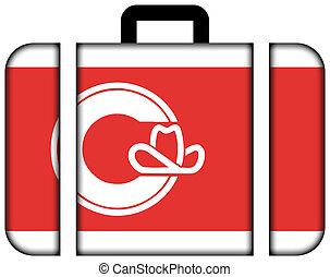conceito, transporte, viagem, bandeira, mala, ícone, calgary.