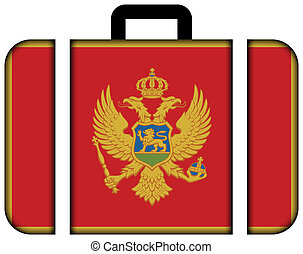 conceito, transporte, viagem, montenegro., bandeira, mala, ícone