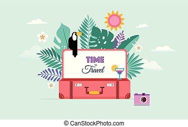 conceito, turismo, viagem, ilustração, vetorial, desenho, suitcase., abertos