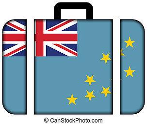 conceito, tuvalu., viagem, bandeira, mala, ícone, transporte