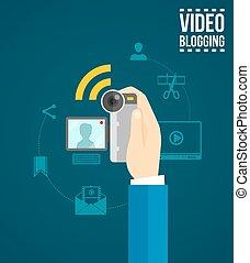 conceito, vídeo, blogging