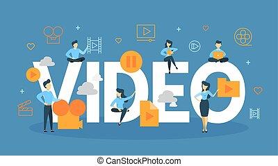 conceito, vídeo, illustration.