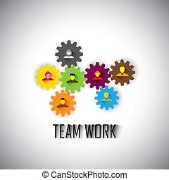 conceito, ve, &, empregados, -, trabalho equipe, equipe,...