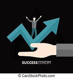 conceito, vencedor, sucesso, cartão