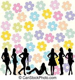 conceito, venda, silhuetas, moda, pretas, mulheres