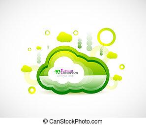 conceito, verde, limpo, nuvem, espaço