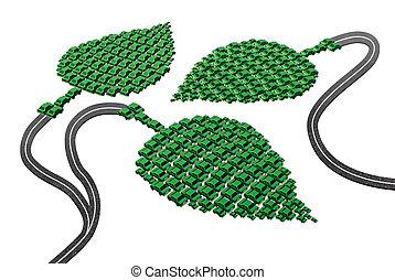 conceito, verde, transporte