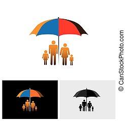 conceito, vetorial, ícone, de, família, segurança, -, família quatro, sob, guarda-chuva