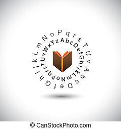 conceito, &, -, vetorial, aprendizagem, alfabetos, educação, livro, ícone