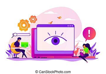 conceito, vetorial, cyberstalking, ilustração