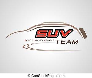 conceito, vetorial, desenho, veículo, logotipo, desporto, suv, utilidade