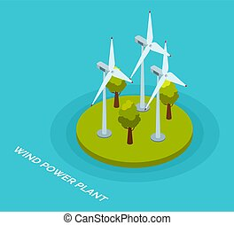 conceito, vetorial, estilo, factory., poder vento, turbines...