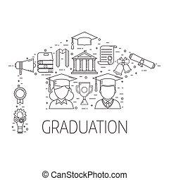 conceito, vetorial, graduação, elementos
