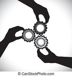 conceito, vetorial, graphic-, de, trabalho equipe, comunidade, unidade, &, integrity., a, ilustração, mostra, 3, mão, silhuetas, segurando, 3, dente, rodas, &, girar, lhes, sincronização, &, equilíbrio