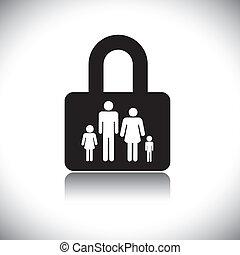 conceito, vetorial, graphic-, família, protection(insurance), &, fechadura, símbolo., a, gráfico, mostra, família, de, four(father, mãe, filho, &, daughter), em, um, fechadura, icon.