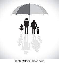 conceito, vetorial, graphic-, família, protection(insurance), &, guarda-chuva, símbolo., a, gráfico, mostra, família, de, four(father, mãe, filho, &, daughter), com, reflexão, em, um, guarda-sol, icon.