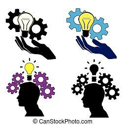 conceito, vetorial, idéia, ícones