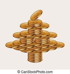 conceito, vetorial, ouro, dinheiro, modernos, árvore., chrisnmas