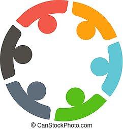 conceito, vetorial, trabalho equipe, ilustração negócio