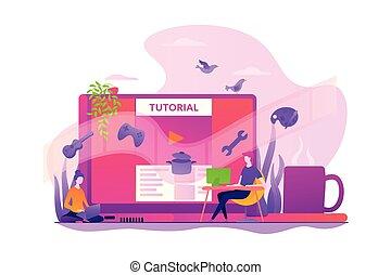 conceito, vetorial, vídeo, illustration., tutorial