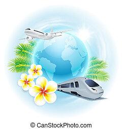 conceito, viagem, ilustração, com, avião, trem, globo, flores
