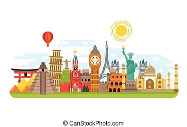 conceito, viagem, símbolos, famosos, vetorial, marco, fundo, internacional, mundo, turismo