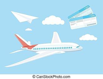 conceito, viagem, voando, avião, ar