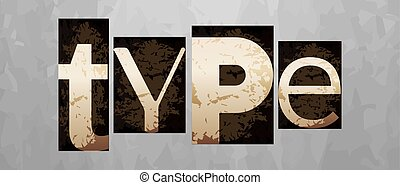 conceito, vindima, vetorial, tipo, letterpress