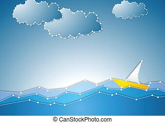 conceito, vista, mar, fundo, esquemático