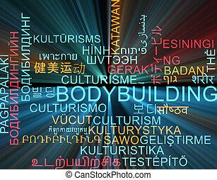 conceito, wordcloud, glowing, multilanguage, fundo, bodybuilding