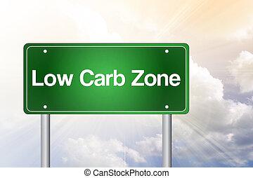 conceito, zona, sinal, verde, baixo, carb, estrada
