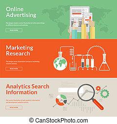 conceitos, anunciando, online