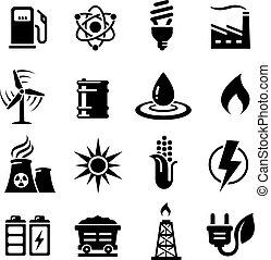 conceitos, energia, vetorial, jogo, ícone