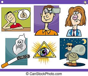 conceitos, jogo, idéias, caricatura