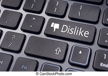 conceitos, mídia, antisocial, botão, teclado, desagrado, mensagem