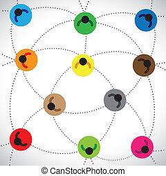 conceitos, pessoas, illustration:, teia, baseado, rede, &, contém, outro, online, etc, rede, coloridos, equipe, conectado, trabalho, representando, gráfico, este, ícones, community., comunidade, cada