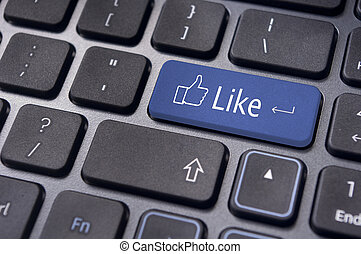 conceitos, semelhante, mídia, teclado, botão, social, mensagem
