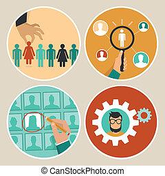 conceitos, vetorial, recursos, human, ícones