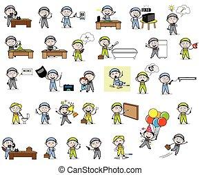 conceitos, vetorial, repairman, ilustrações, -, jogo, caricatura