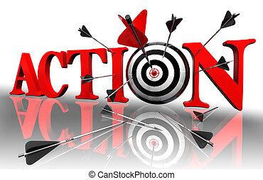 conceitual, ação, palavra, alvo, vermelho