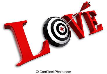 conceitual, amor, palavra, alvo, vermelho