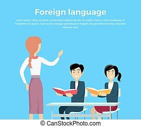 conceitual, bandeira, aprendizagem, língua, estrangeiro