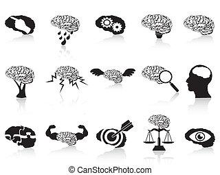 conceitual, cérebro, jogo, ícones