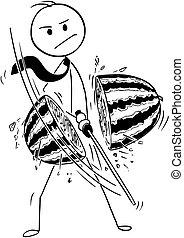 conceitual, caricatura, de, homem negócios, corte, melão água, com, katana, espada