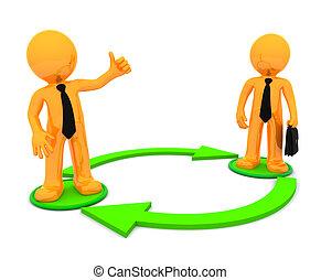 conceitual, communication., ilustração negócio