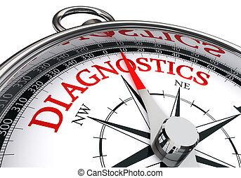 Conceitual, compasso, palavra, vermelho, diagnósticos