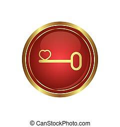 conceitual, coração, seu, ícone chave