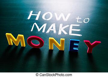 conceitual, dinheiro, fazer, palavras, como